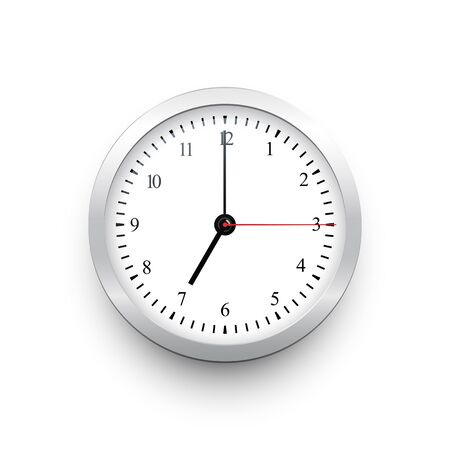 White classic clock with silver border. Vector black clock template with movable arrows