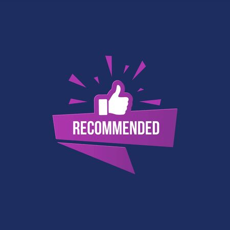 Recommended banner with like sign thumbs up gesture isolated on dark blue background. High quality promotion, advertisement poster. Recommendation and positive feedback. Social engagement Иллюстрация