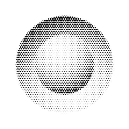 Button in halftone isolated on white backdrop