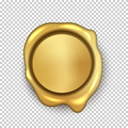 Golden wax seal isolated on transparent background