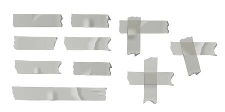 Gray adhesive or masking tape pieces isolated on white background. Vector design elements.