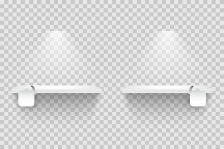 Empty shelves with blank white square tags isolated on transparent backdrop. Realistic mockup for supermarket showcase displays with promotion labels. Vector illustration.