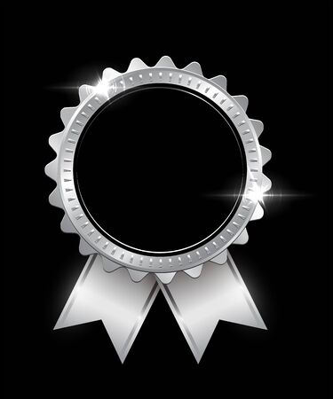 Vector silver seal with ribbons isolated on black background.