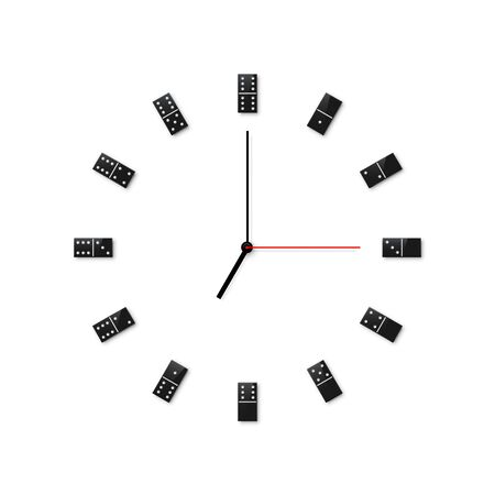 Domino wall clock design isolated on white background