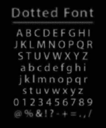 Vector dotted font. White letters and numbers made of dots with halftone effect isolated on black background