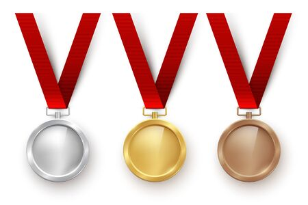 Golden, silver and bronze blank medals hanging on red ribbons isolated on white background. Vector sports illustration