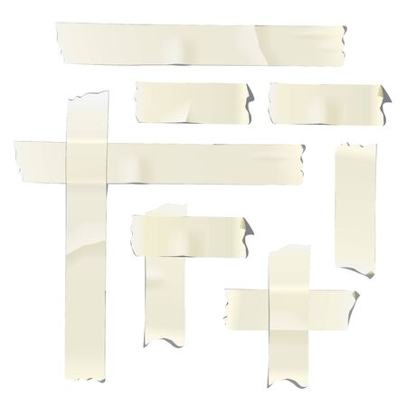 Adhesive or masking tape pieces isolated on white background. Vector design elements