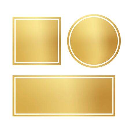 Blank opaque shiny golden frame set. Circle, square, rectangle isolated on white background. Gradient gold border different shape. Luxury design geometric element. Framework empty template kit Иллюстрация