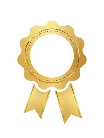 Vector round golden seal with ribbon on white