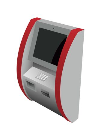 Realistic 3d Atm machine with keypad, slot for credit card and currency. Vector illustration of payment terminal isolated on white background