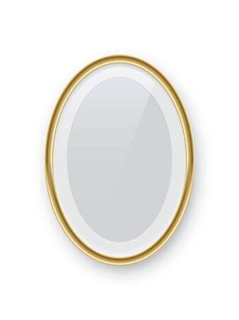 Oval vertical golden picture or photo frame isolated on white background. Vector design element.