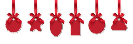 Christmas toys realistic illustrations set. Winter holidays decorations. New year blank tags, labels with ribbons pack. Cartoon various shapes pendants collection isolated on white background