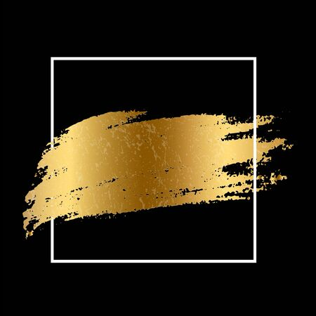 Golden paint smear stain with white square frame. Vector gold brush stroke design element