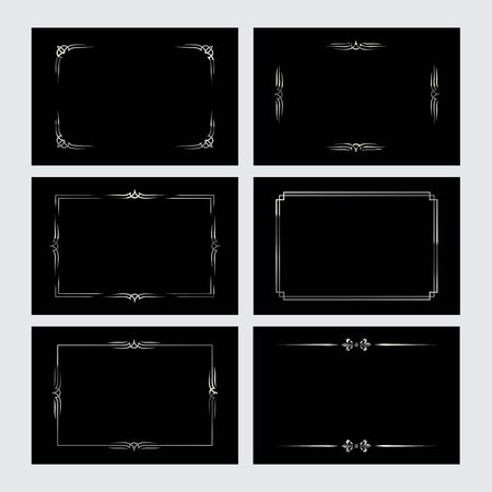 Set of silver vintage borders in silent film style isolated on black backgrounds. Vector retro design elements.