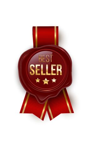 Award seal 3d realistic vector color illustration. Reward. Best seller seal with stars. Certified product. Quality badge, emblem with red ribbon. Winner trophy. Isolated design element.