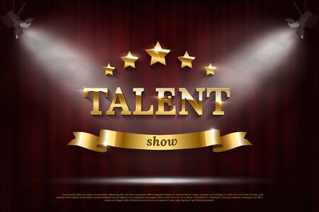 Golden talent show text on ribbon over red curtain Иллюстрация