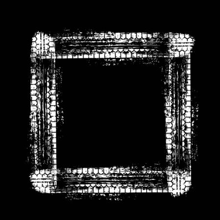 Tire track square frame isolated on black backdrop Иллюстрация