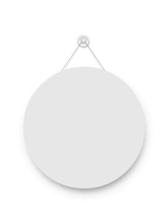 Realistic empty blank signboard white circle hanged on suction cup. Round shape sign frame template hanging on wall. Price tag mockup. Advertisement, promotion isolated on white background. Иллюстрация
