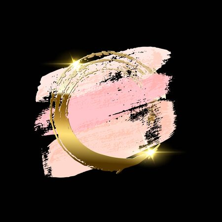 Pastel pink brush strokes with golden brush ring isolated on black background. Vector design element.