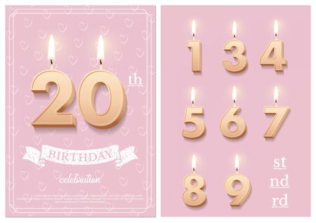 Burning number 20 birthday candles with vintage ribbon, birthday celebration text on textured pink backgrounds postcard format. Vector vertical twentieth birthday invitation template and numbers set