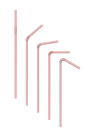 Vector realistic striped drink straw set isolated on white background. Swizzle stick bundle. Thin eco pipe for alcoholic, non-alcoholic beverage and cocktail. Accessory for birthday party celebration