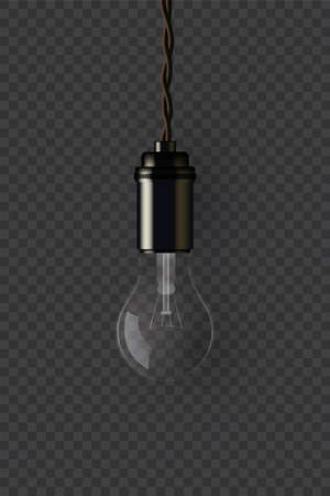 Vintage extinguished lamp holding on wire on dark transparent background. Vector isolated design element