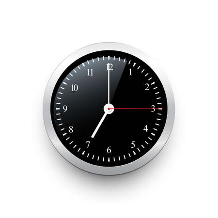 Black classic clock with silver border. Vector black clock template with movable arrows