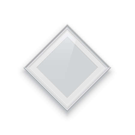 Rhombus white photo or picture frame isolated on white background.