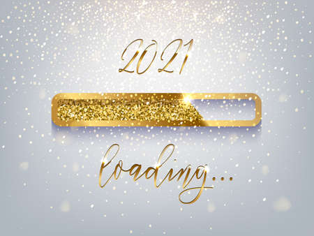 New Year golden loading bar vector illustration. 2021 Year progress with lettering. Party countdown, download screen. Invitation card, banner. Event, holiday expectation. Sparkling glitter background