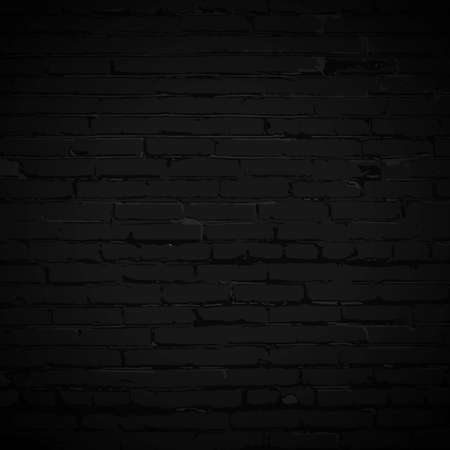 Night black brick wall illustration. Grunge blank stonework facade texture. Industrial building close up element, empty space. Vector minimal design template, background, decoration, layout, backdrop