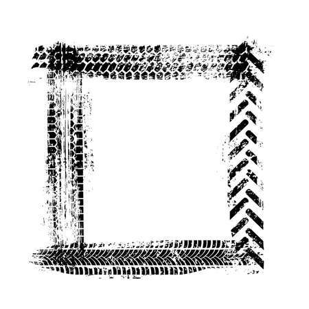 Black car wheel tire track frame in grunge square shape isolated on white background. Tyre tread print border. Geometric rectangle figure. Distressed overlay automotive motocross protector design