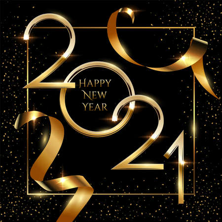 Happy new year greeting card vector template. Festive christmas social media banner design with congratulations. Golden 2021 number in frame with confetti realistic illustration with typography 矢量图像