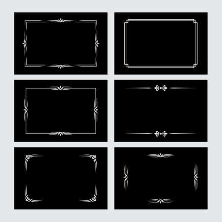 Set of white vintage borders in silent film style isolated on black background. Vector retro design elements