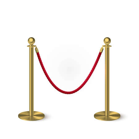 Golden column barrier with red rope. Gold luxury VIP design element for exhibition pavilion, auto show, theatre and cinema premier, winner reward ceremony. Guard object isolated on white background.