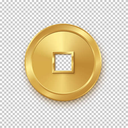 Shiny glowing realistic golden money coin china isolated on white background pattern. Magic gold oriental currency symbol object bringing wealth, fortune, prosperity, luck and treasure.