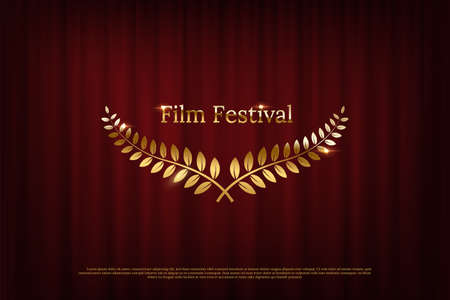 Golden shiny award laurel wreaths and Film Festival text isolated on dark red curtain background. Vector design element.