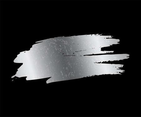 Silver paint smear stain. Vector chrome brush stroke design element. Vectores