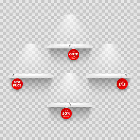 Vector realistic empty shelves with red wobblers Vectores