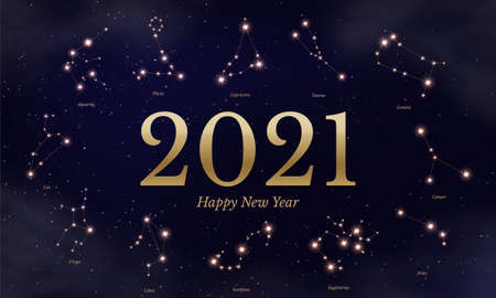 2021 zodiac calendar vector illustration. Astrological symbols on dark blue starry background. Twelve horoscope signs. New year scheduler and planner poster.