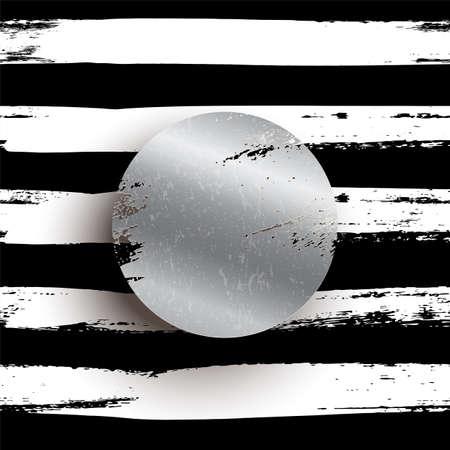 Round silver stamp vector illustration. Glittering metallic circle on striped black background. Shining grunge element with copyspace. Foil brush texture. Luxury, premium, elegant design.