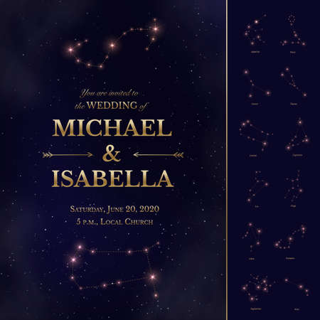Wedding invitation with starry night sky design