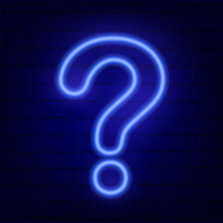 Neon blue question mark on dark brick wall. Cinema, show, theatre, circus, casino design. Intellectual signs. Laser diode lamp. Night party pointer. Creative vector illustration.