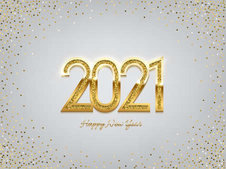 2021 golden New Year sign on winter holiday background. Vector New Year illustration.