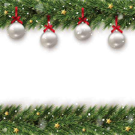 Fir tree branch decorated with toy frame template