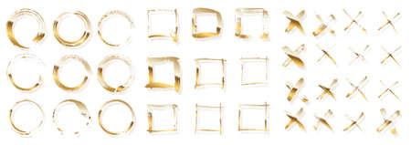 Golden ink brush strokes vector set