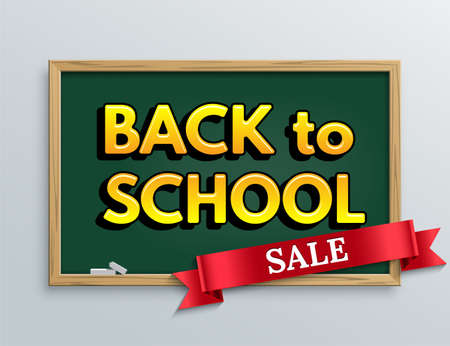Back to school Sale design template. Vector red ribbon with sale word and Back to school text on green blackboard background.