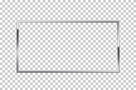 Shiny sparkling silver rectangle on transparent background vector illustration Vectores