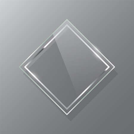 Silver rhombus glass frame realistic vector mockup