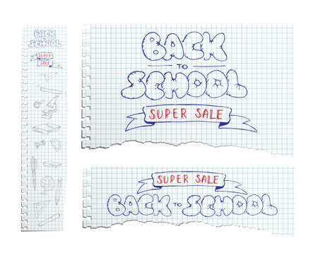 Torn copybook sheets with pen hand drawn Back to School Super Sale text. Vector illustration. Vectores