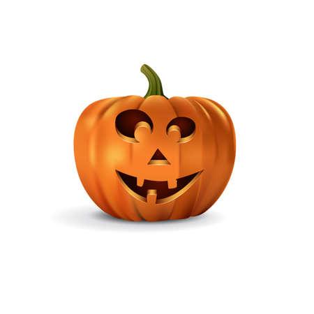 Halloween pumpkin with smiling face. Vector halloween design element.